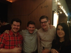 EMC's Nick Beale, Luke Smith and Phil Dowzard and MTI's Lisa Rivington enjoying the party
